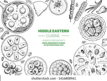 Middle eastern food top view frame. Food menu design with manakish, shakshouka, kebab, halva, hummus and sweet desserts. Vintage hand drawn sketch vector illustration.