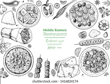 Middle eastern food top view frame. Food menu design with pita, shawarma, kebab, baklava, meat balls. Vintage hand drawn sketch vector illustration.