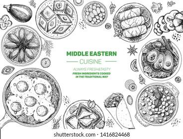 Middle eastern food top view frame. Food menu design with kibbeh, dolma, shakshouka, shawarma and sweets. Vintage hand drawn sketch vector illustration.
