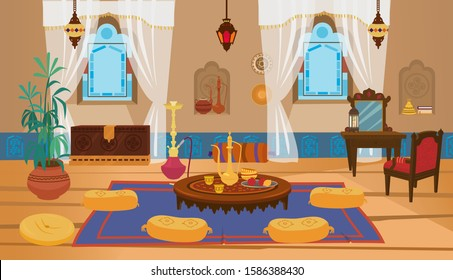 Middle eastern living room interior with wooden furniture and decoration elements. Round low table with tea pot and pillows, toilet table with chair, lanterns with stained glass. Cartoon vector.