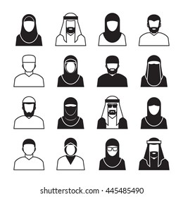 Middle Eastern People ,vector Icons and symbol