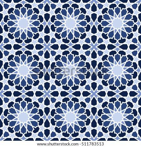 Middle Eastern Style Pattern Blue Editable Stock Vector Royalty Adorable Middle Eastern Patterns