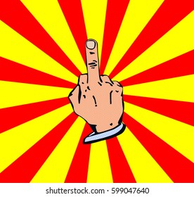 Middle finger. Fuck you hand. Yellow skin. Vector. Pop-art.