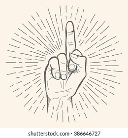 The middle finger hand drawn sign. Vector pencil sketch illustration of fuck you sign. Isolated on white background.