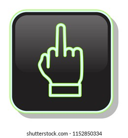 Middle Finger Icon. Nonverbal gesture showing fuck you. Rude rebel concept. Editable stroke flat icons. Simple thin line art logo. Neon web app button. Vector illustration.