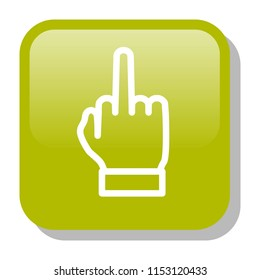 Middle Finger Icon. Nonverbal gesture showing fuck you. Rude rebel concept. Editable stroke flat icons. Simple thin line art logo. 3d Web app button. Vector illustration.