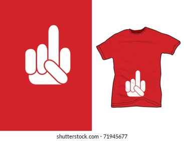 middle finger on a red shirt