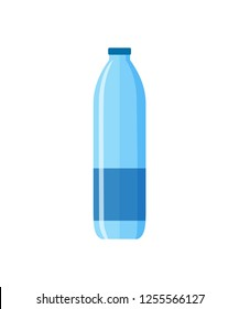 Middle water bottle illustration. Plastic, pure, drinking. Food and drinks concept. Vector illustration can be used for topics like food, supermarket, drinking, lifestyle