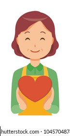 A middle-aged housewife wearing an apron has a heart mark