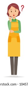 A middle-aged housewife wearing an apron is thinking