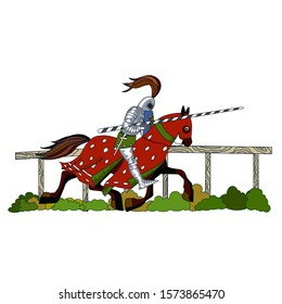 A middle-aged knight in iron armor and helmet rides a horse with a red blanket and holds a shield and spear in his hands, color clip art on a white isolated background