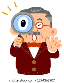 Middle-aged man's upper body , surprised at  peeping through the magnifying glass, wealthy