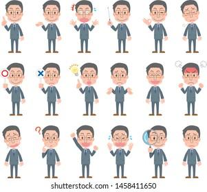 Middle-aged men's facial expression variation set illustration wearing a suit
