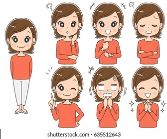 A middle-aged woman has various facial expressions