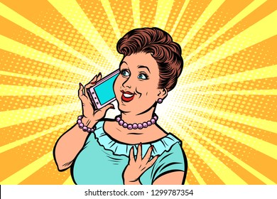 middle-aged woman talking on the phone. Comic cartoon pop art retro vector illustration hand drawing