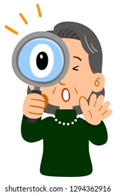 Middle-aged woman's upper body, senior elegant, surprised at looking through the magnifying glass