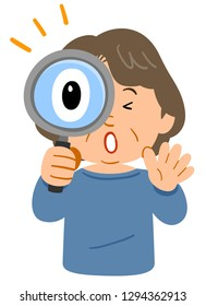 Middle-aged woman's upper half body, surprised at  looking through the magnifying glass
