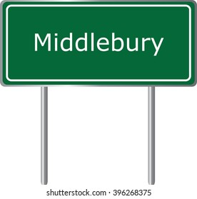 Middlebury , Connecticut , road sign green vector illustration, road table, USA city