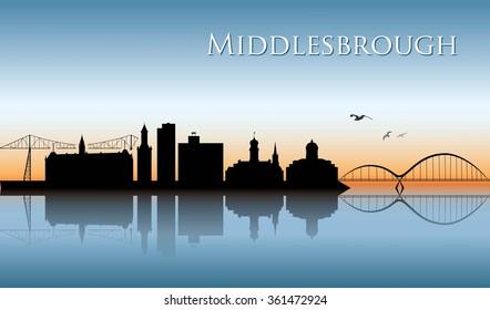 Middlesbrough skyline - vector illustration