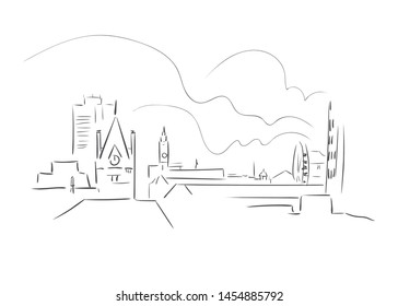 Middlesbrough United Kingdom Europe vector sketch city illustration line art