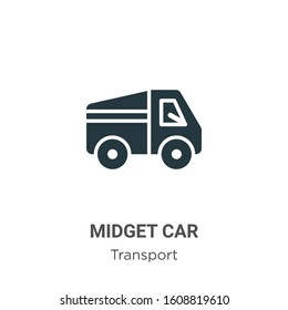 Midget car glyph icon vector on white background. Flat vector midget car icon symbol sign from modern transport collection for mobile concept and web apps design.