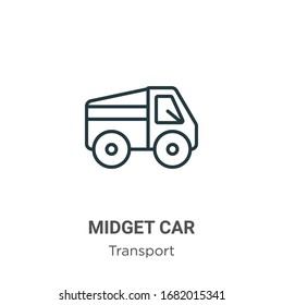 Midget car outline vector icon. Thin line black midget car icon, flat vector simple element illustration from editable transport concept isolated stroke on white background