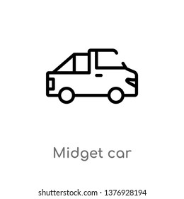 midget car vector line icon. Simple element illustration. midget car outline icon from transport concept. Can be used for web and mobile