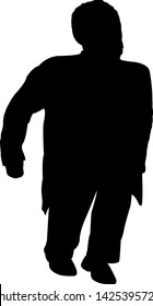 a midget man body silhouette vector