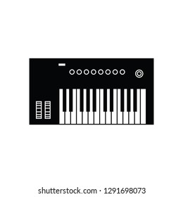 MIDI controller with keyboard flat vector pictogram
