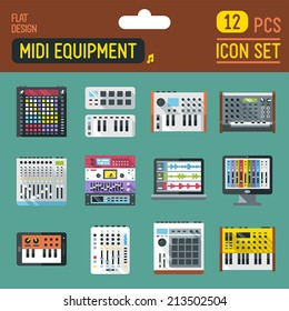 Midi controllers flat long shadow icon set. Vector trendy illustrations.