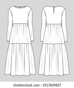 Midi dress. Fashion sketch. Vector illustration. Flat technical drawing. Mockup template.
