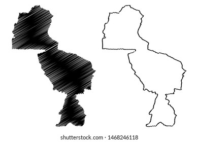 Midlands Province (Republic of Zimbabwe, Provinces of Zimbabwe) map vector illustration, scribble sketch Midlands map