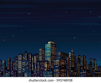 Midnight Cityscape with Skyscrapers Vector