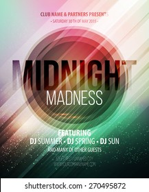 Midnight Madness Party. Template poster. Vector illustration