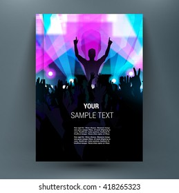 Midnight music festival with silhouettes of happy dancing youth people crowd on stage with raised up hands. Rays of spotlight. Summer open air. A4 brochure title sheet. First start page of book.