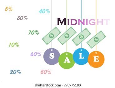 Midnight sale background vector