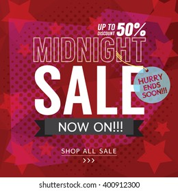 Midnight Sale Banner Vector Illustration