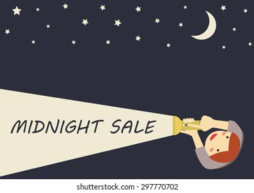 Midnight sale. Customers holding a flashlight to reduce the price tag. Vector illustration