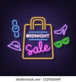 midnight sale neon signboard vector design