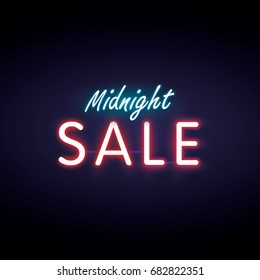 Midnight sale neon style heading design for banner or poster. Sale and Discounts Concept. Vector illustration.