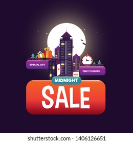Midnight Sale Poster Template Vector