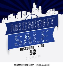 Midnight sale promotion with cityscape background. Vector Illustration