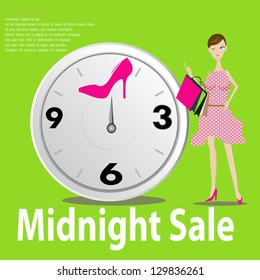 Midnight sale shopping concept