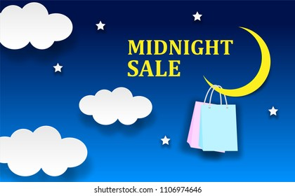 midnight sale shopping concept.  moon,shopping bags ,star,clouds . on night sky . blue background. paper art style.  Vector, illustration.