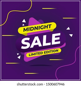 Midnight Sale Template Design for Advertising text, banner and social media post. Vector Illustration