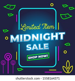 Midnight Sale Template Design with modern graphic style for Advertising text, banner and social media campaign post. Vector Illustration