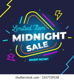 Midnight Sale Template Design with neon light style for Advertising text, banner and social media campaign post. Vector Illustration