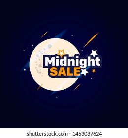 Midnight Sale Text Vector template
