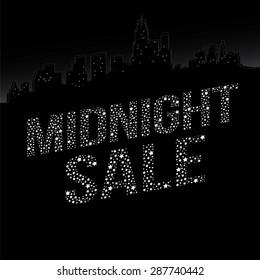 Midnight Sale. Vector Illustration