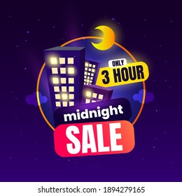 Midnight Sale Vector Illustration for Promotion Design
